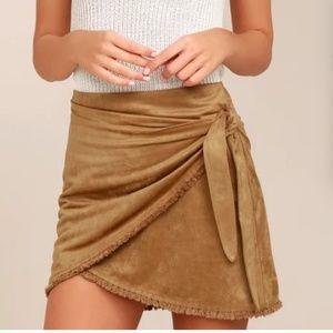 NWT Lulu's Reflection Tan Suede Wrap Mini Skirt